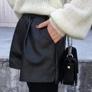皮短褲 皮短褲女高腰秋冬新款正韓外穿百搭黑色大碼寬鬆寬管靴褲-Ballet朵朵