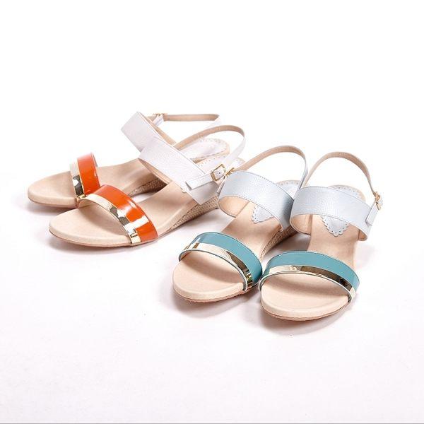 【W&M】真皮寬帶環扣式涼鞋 女鞋-灰(另有橘)