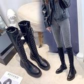膝上靴 長筒靴女2020秋冬季新款歐美高筒靴綁帶皮靴不過膝保暖騎士長靴子