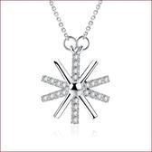 太陽花鑲鉆十字項鏈 鍍銀吊墜 配鏈s151