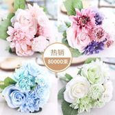 仿真玫瑰花束 歐式高客廳臥室辦公桌裝飾擺件假花絹花插花   夢曼森居家