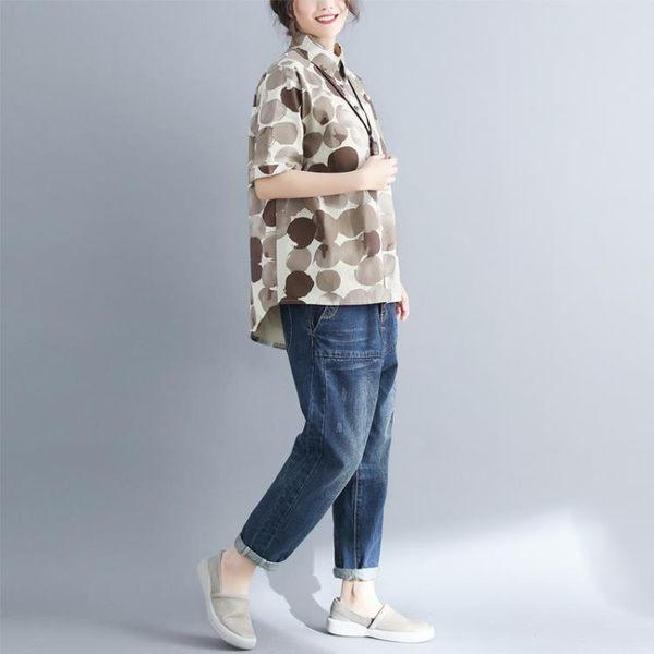 大尺碼女裝胖mm新款夏裝遮肚子襯衫短袖韓版顯瘦棉麻上衣200斤 父親節降價