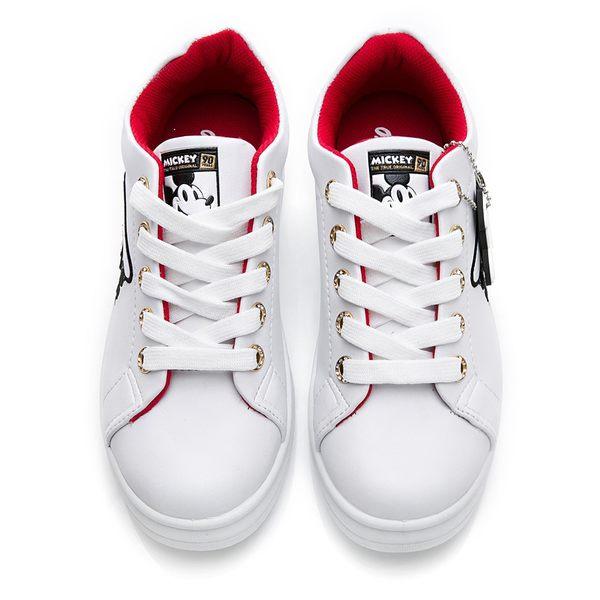 DISNEY 百變精靈 大手小米奇剪影休閒鞋-白紅
