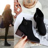 短靴 靴子女短靴秋冬新款ins馬丁靴女短筒高跟粗跟網紅加絨瘦瘦靴