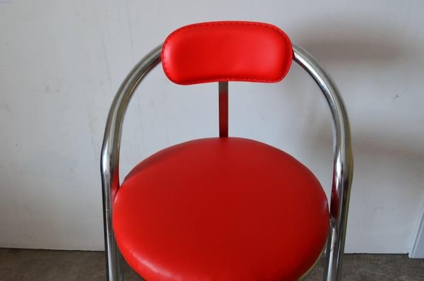 椅子家用餐廳動漫城電玩城游戲機椅子 手機櫃吧台帶靠背不銹鋼椅凳游戲廳座椅Igo 摩可美家
