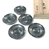 日本銅器【銀川堂】燻銀 茶仙 銅茶托5件組 贈木箱 禮盒 黃銅鍍銀 波紋杯墊 茶道具