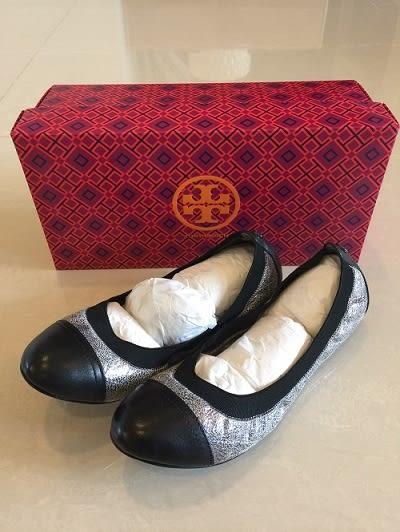 Tory Burch平底鞋 黑色亮銀設計款平底娃娃鞋