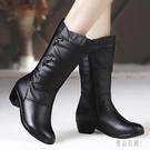 中大尺碼冬季加絨中筒靴中年女士皮靴中跟粗跟媽媽棉鞋大碼騎士靴 XN7843【優品良鋪】