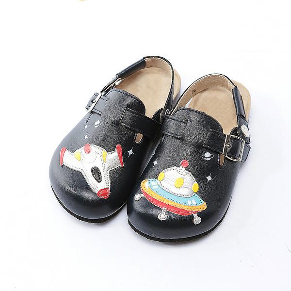 【Jingle】星球探險前包後空軟木休閒鞋(經典藍兒童款)