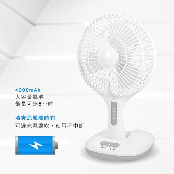 KINYO USB充電式8吋摺疊電風扇CF870-白色