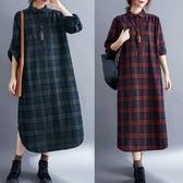 經典顯瘦版型格紋襯衫洋裝-大尺碼 獨具衣格 J3242