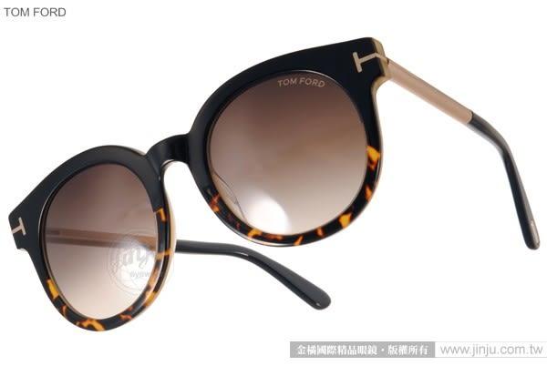 TOM FORD 太陽眼鏡 TOM0435 01K (琥珀-金) 經典T字圓框貓眼款 # 金橘眼鏡