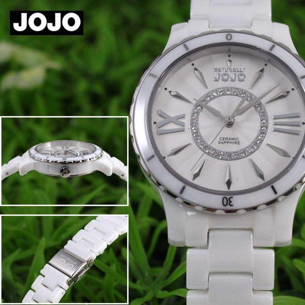 【萬年鐘錶】JOJO 陶瓷鑽錶 NATURALLY 晶鑽陶瓷腕錶  白x白  JO96751-80F