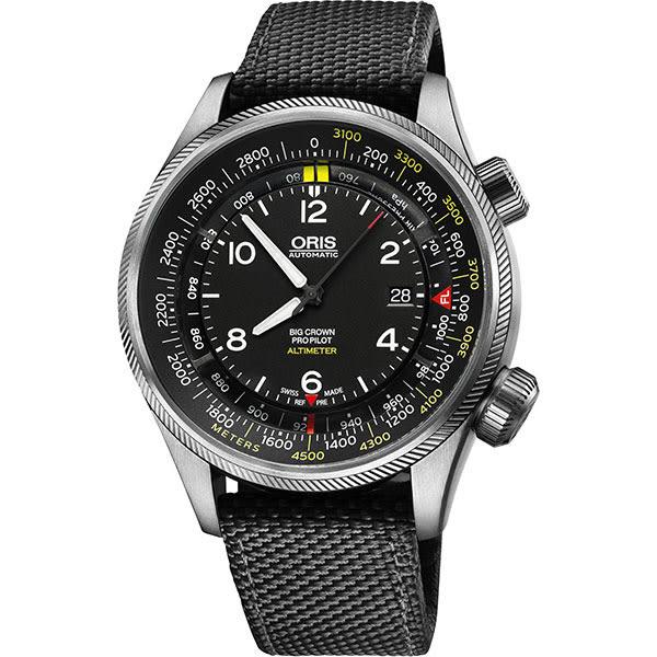 ORIS 豪利時 ProPliot Altimeter高度儀飛行錶/黑帆布-47mm 0173377054164-0752315FC