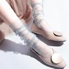 促銷 蕾絲襪子女網紗堆堆襪透明日系韓國玻璃絲中筒襪超薄款夏季水晶襪