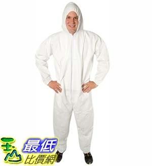 [9美國直購] 防護衣 Safety Zone DCWH-LG-BB-HEWA White Polypropylene Disposable Coverall with Hood, Large