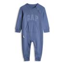 Gap男嬰徽標LOGO按扣式連體衣542844-灰藍色