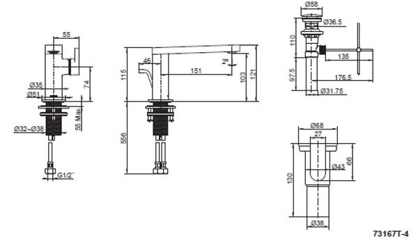 【麗室衛浴】美國 KOHLER 新品上市 COMPOSED 系列  面盆龍頭  K-73167T-4-CP