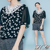 .GAG GLE超大尺碼.【17070035】細緻美人珠飾布蕾絲蝶結圖印上衣 1色