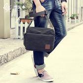 簡約休閒包手拿提斜挎大容量復古拉?包純色旅行袋單肩男士帆布包 免運直出 交換禮物