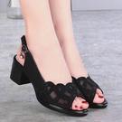 魚口鞋 真皮涼鞋女鞋新款網紗魚口粗跟中跟鏤空軟底時尚媽媽鞋女-Ballet朵朵