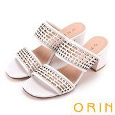 ORIN 夏日異國渡假 幾何簍空牛皮粗高跟涼拖鞋-白色