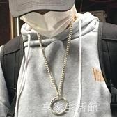 韓國ulzzang原宿風簡約個性百搭情侶圓環掛飾鈦鋼項錬飾品男·享家生活館