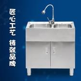 轉角水槽 廚房304不銹鋼轉角洗菜盆一體櫃雙槽水槽陽台洗衣櫃洗碗水池家用 DF 萬聖節狂歡