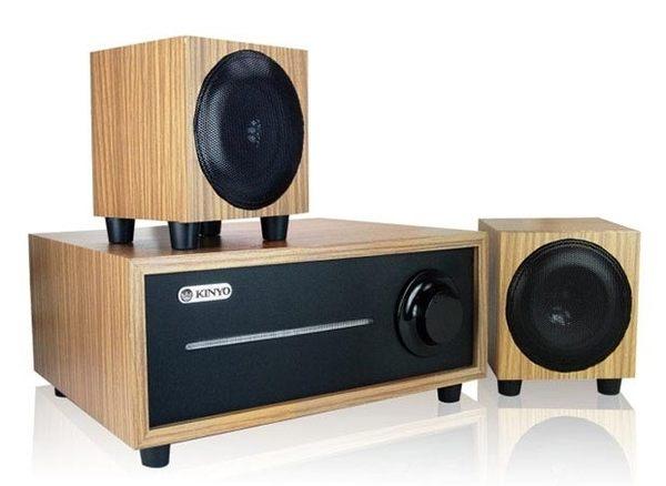 新竹【超人3C】KINYO全木質2.1聲道重低音喇叭KY-1601低音強勁 4吋低音喇叭,強大功率