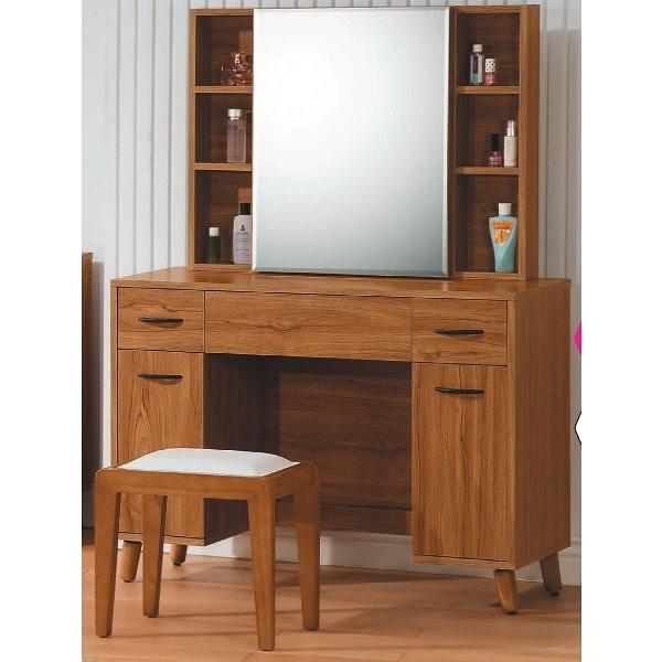 化妝台 鏡台 AT-395-4 肯詩特柚木色3.3尺化妝台 (含椅)【大眾家居舘】