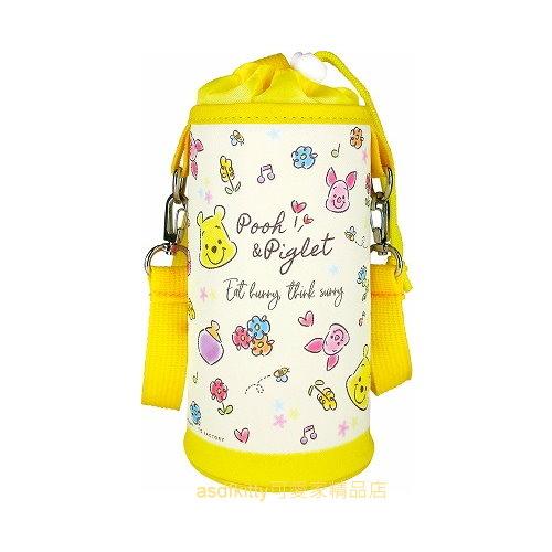 asdfkitty*迪士尼小熊維尼俏皮風保溫保冷水壺袋/水壺套-附背帶-可斜背-日本正版商品