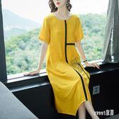 棉麻洋裝2019夏季新款女裝大碼連身裙寬鬆高貴中長款 JY2958【Sweet家居】