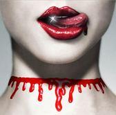 【NF243模擬流血項鍊】萬聖節歐美項鍊創意血腥切割血痕項鍊紅色模擬肚子流血項圈 PARTY
