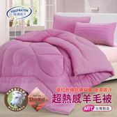 【三浦太郎】遠紅外線抑菌/專利吸濕排汗超熱感羊毛被2.1KG/八色任選單一紫色