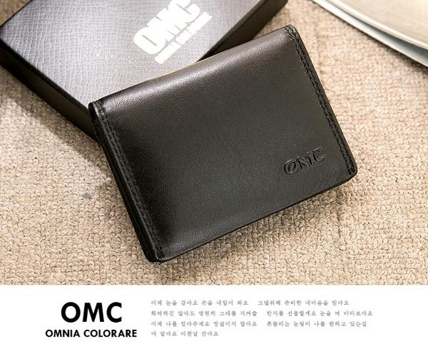 OMC - 韓系柔軟牛皮款真皮2卡1照名片夾