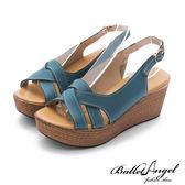 楔型涼鞋 夏日風情雅緻真皮楔型涼鞋(藍)*BalletAngel【18-761b】【現貨】