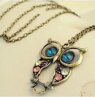 【TT35】歐美飾品批發 複古三色嵌鑽 鏤空雕花 可愛貓頭鷹項鏈 毛衣鏈