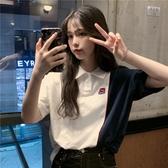 春裝韓版2020新款設計感小眾嘻哈風撞色POLO領寬鬆短袖T恤女學生