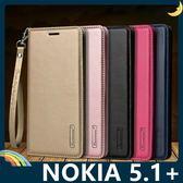 NOKIA 5.1 Plus Hanman保護套 皮革側翻皮套 隱形磁扣 簡易防水 帶掛繩 支架 插卡 手機套 手機殼 諾基亞