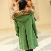 毛呢外套-貉子毛領斗篷羊毛中長款女連帽大衣72at23[巴黎精品]