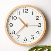 日式簡約掛鐘北歐時尚客廳實木石英鐘錶餐廳臥室現代靜音圓形時鐘 YXS『小宅妮時尚』