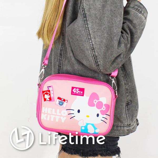 ﹝Kitty45週年小方皮革側背包﹞正版皮革包 旅行包 肩背包 淑女包 凱蒂貓〖LifeTime一生流行館〗B15175