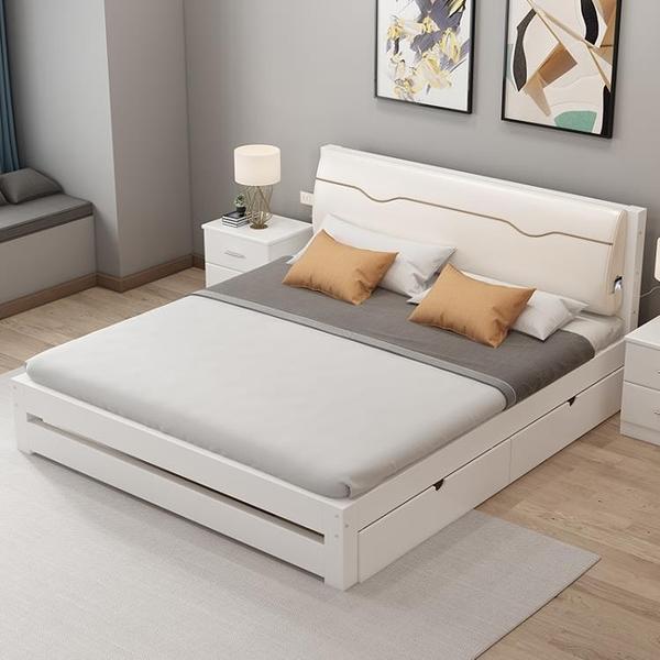 實木床現代簡約1.5米雙人床1.8m主臥經濟型出租房床架1.2米單人床NMS【創意新品】