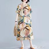 棉麻連身裙女中長款新款夏裝流行中年媽媽顯瘦遮肚子亞麻裙子一米陽光
