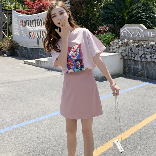 VK旗艦店 韓系圓領小丑印花短袖T恤高腰套裝短袖裙裝