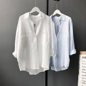 長袖襯衫-純色春季新款簡約百搭女上衣2色73qt1【巴黎精品】