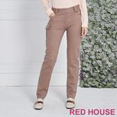 RED HOUSE 蕾赫斯-貼口袋直筒長褲(卡其色)