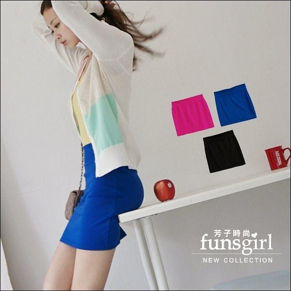 素面飽和色感彈性棉質窄裙-10色~funsgirl芳子時尚