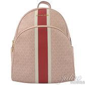 茱麗葉精品【全新現貨】MICHAEL KORS ABBEY 白紅條紋雙肩後背包.芭蕾粉