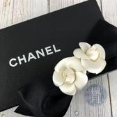 BRAND楓月 CHANEL 香奈兒 兩朵 山茶花 經典 元素 黑白 白花 緞帶 髮夾 髮飾 飾品 佩飾 配件